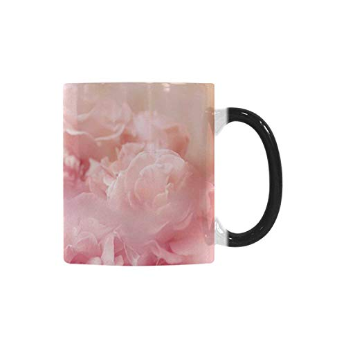 Rose Utility Morphing Mug,Dreamlike Spring Nature Theme Blurry View Feminine Bouquets Gardening Bedding Plants Decorative for Home,10.3OZ