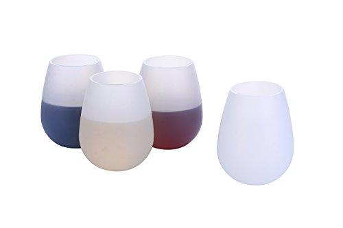 Unbreakable Silicone Wine Glasses, 12 oz Shatterproof cups