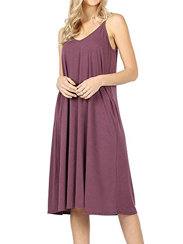 (MixMatchy Women's Summer Casual Plain Flowy Pockets Loose Beach Cami Dress Eggplant L)