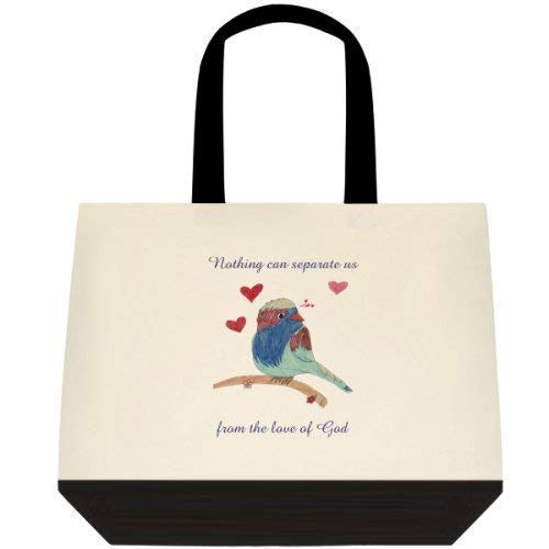 Custom Design Canvas Bird Hearts Shoulder tote hand bag - Large