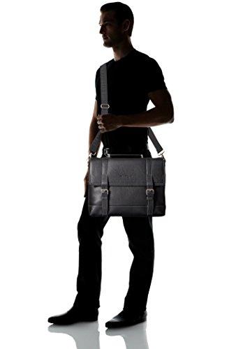Salvatore-Ferragamo-Mens-Manhattan-Flap-Over-with-Buckles-Messenger-Bag-Nero