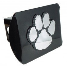 Clemson University Tigers ''Black with Chrome Paw Emblem'' NCAA College Sports Trailer Hitch Cover Fits 2 Inch Auto Car Truck Receiver by Elektroplate