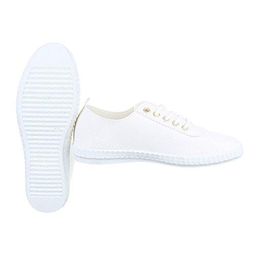 Ital-Design Sportschuhe Damenschuhe Geschlossen Sneakers Schnürsenkel Freizeitschuhe Weiß Gold FC-V403
