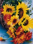 """Bob Ross Floral How-to Packet """"Basket of Sunflowers"""""""