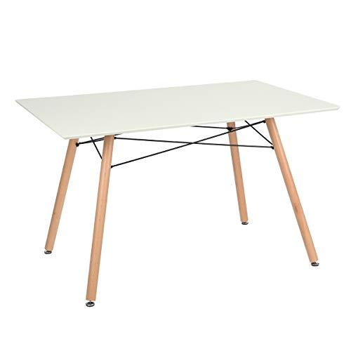 FURNITURE-R Francia - Mesa de comedor rectangular Maddie de 2 a 4 personas escandinavas – maciza patas lacadas y haya, 110 x 70 x 74 cm, madera, blanco, 110_x_70_cm