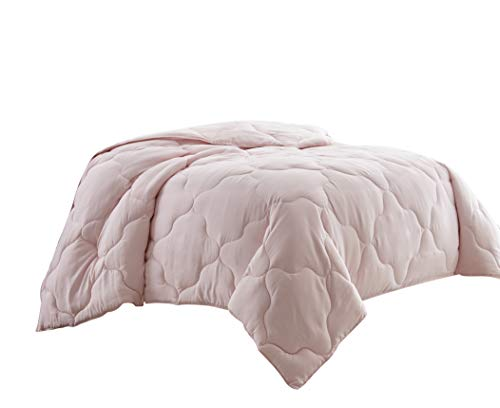 Chezmoi Collection Pink Goose Down Alternative Comforter/Duvet Insert Stitched Geometrical Pattern w Corner tabs, Twin