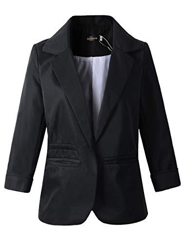 Women's Boyfriend Blazer Tailored Suit Coat Jacket (TG-503 Black, XL)