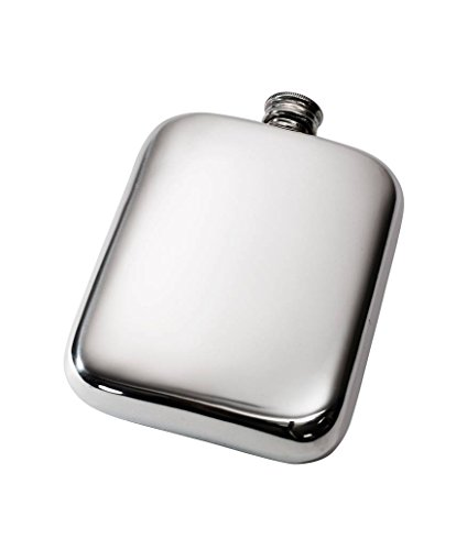 Wentworth Pewter- Plain 6oz Pewter Cushion Pocket Flask, Spirit Flask ()