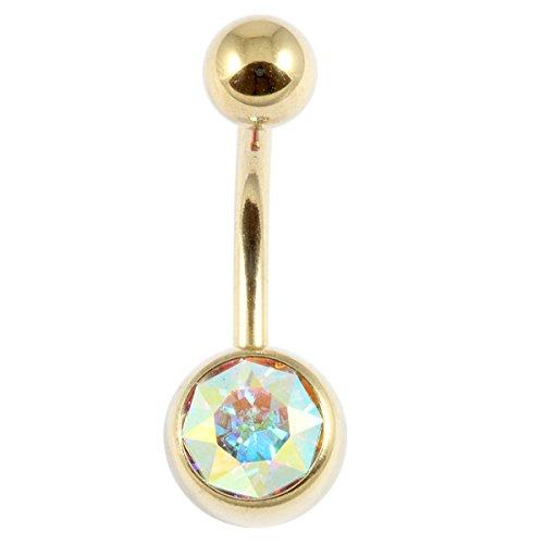 Zircon Strass barre de ventre-titane - 10 mm cristal AB Jewel. ampleur couleur or.