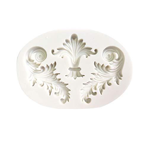 - super1798 Retro Embossed Frame Silicone DIY Mold Fondant Cake Sugarcraft Decorating Tool - White