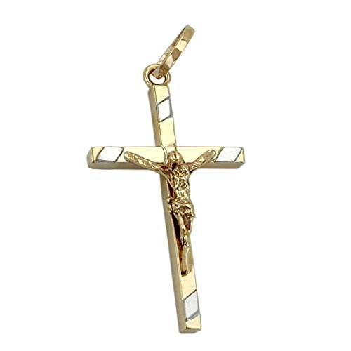Pendentif en croix de jésus 9Kt or bicolore