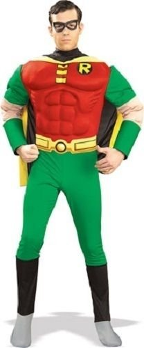 DC Comics Deluxe Muscle Chest Robin Adult Costume, Medium (Robin Deluxe Costume)