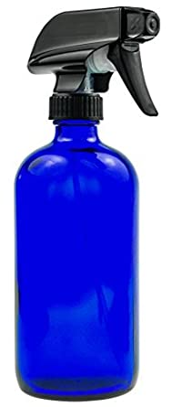Empty Blue Glass Spray Bottle - 16 oz Refillable Container is Perfect for Essential Oils, Cleaning Products, Homemade Cleaners, Aromatherapy, Organic Beauty Treatment, and Cooking - Durable Black Trigger Sprayer w/ Mist and Stream Nozzle Settings …