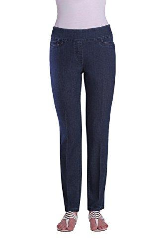 Alia Denim Jeans - Pull-On Stretch Denim Slim Leg Jeans MedIndigo 16R