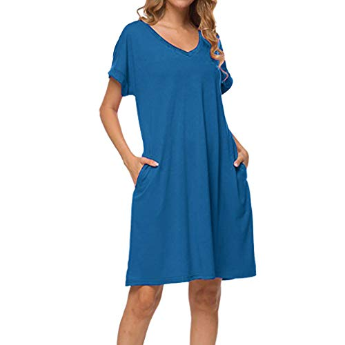 (Tantisy ♣↭♣ Women's V-Neck and O-Neck Cotton Casual Dress Short Sleeve Basic Plain Summer Ladies Dresses)