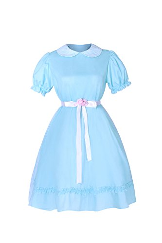 SHANSHAN Womens Twins Chiffon Lolita Dress Short Sleeve Sweet Dress Blue M