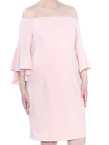 - Calvin Klein Women's Off The Shoulder Solid Bell Sleeve Sheath Dress, Blossom, 16