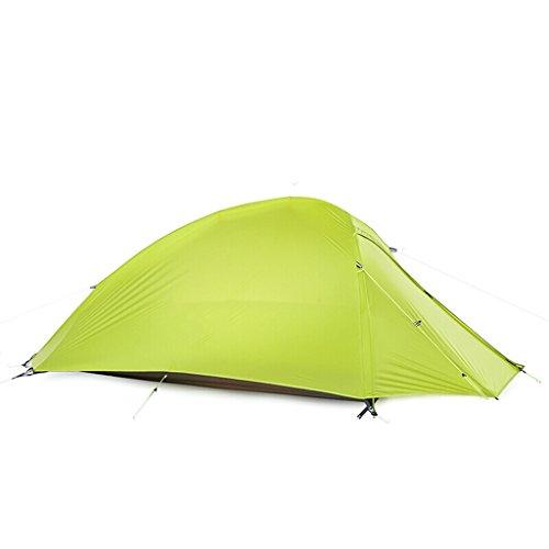 灰計算する浸漬シングルテント防雨屋外クライミングテントフォーシーズン野生キャンプテントダブルアンチトレントレイン20Dシリコン (色 : 緑)