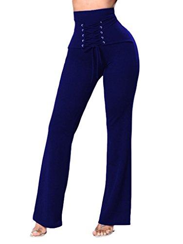 Grand Large Uni En Casual Bigood Lacet Pantalon Bleu Femme Polyester Taille 51nAUq