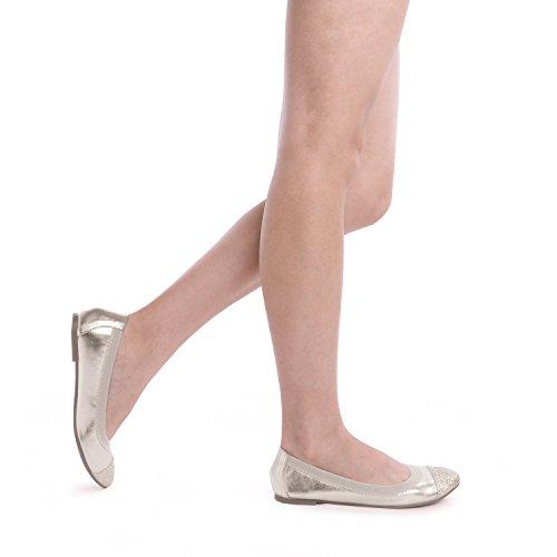 Comfortable Lady Flats Ballet Women's Ballerina Elastic New Shoes FLEXSOLE PAIRS Flexible DREAM Gold T04Sq