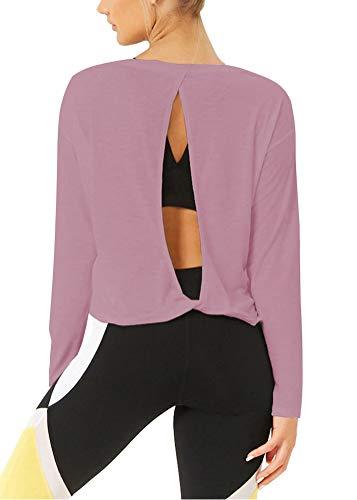 Bestisun Workout Long Sleeve Top Open Back Fitting Flattering Knot Back Activewear Boat Neck Sweatshirts for Women Pink L