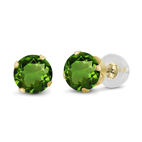 Gem Stone King 0.50 Ct Round 4mm Green Tourmaline 14K Yellow Gold Stud Earrings ()