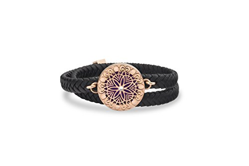- Unique Diffuser Aromatherapy Bracelet, Double Wrap Faux Leather, 25mm Rose Gold Locket (Rose Gold)