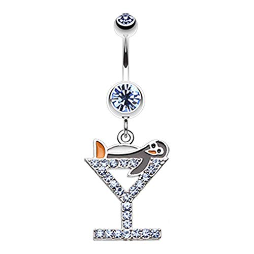 - Bazooky Happy Penguin Hour Martini Belly Button Ring (Many Colors) (Light Blue)