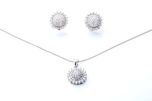 Ana Morales Parure de bijoux pour femme Argent 925cristaux et Zirconium + véritable collier argent 925