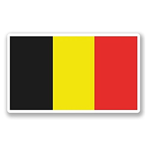 - 3 Pack - Belgium Flag WINDOW CLING STICKER Car Van Campervan Glass - Sticker Graphic - Construction Toolbox, Hardhat, Lunchbox, Helmet, Mechanic, Luggage