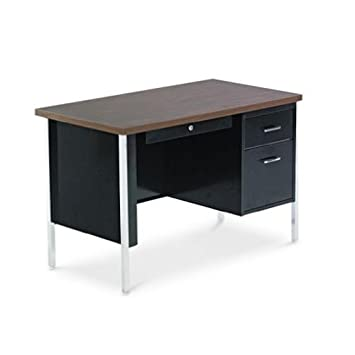 Single Pedestal Steel Desk, 45w x 24d x 29-1 2h, Walnut