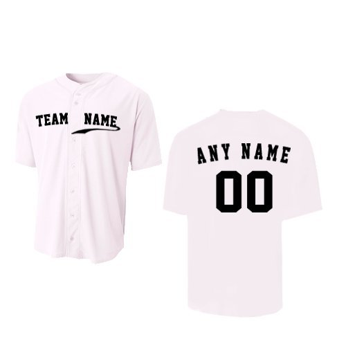 A4 Sportswear White Youth Medium (CUSTOM Front and/or Back) Full-Button Baseball Wicking Jersey by A4 Sportswear