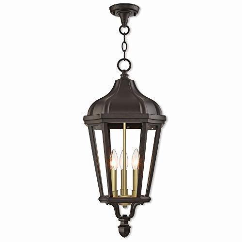 Livex Lighting 76193-07 Morgan - Three Light Outdoor Hanging Lantern, Bronze Finish with Clear Glass (Morgan Hanging Lantern)