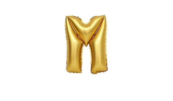 Globo de la hoja 100 cm Balón, Dorado letras M, relleno de helio ...