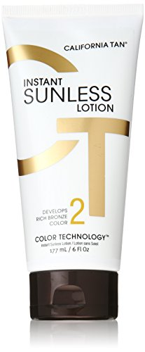 California Tan Instant Sunless Tanning Lotion, Develops Rich Bronze Color, Brighten & Protect with Vitamin C & Vitamin E, Cruelty Free, 6 Ounce ()