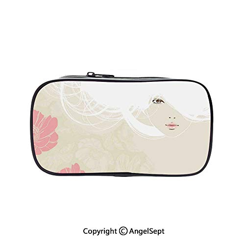Cute Pencil Case - High Capacity,Pastel Colored Portrait of A Woman Soft Digital Flowers Bridal Theme Romantic Image Biege Pink 5.1inches,Multifunction Cosmetic Makeup Bag,Perfect Holder for Pencils -