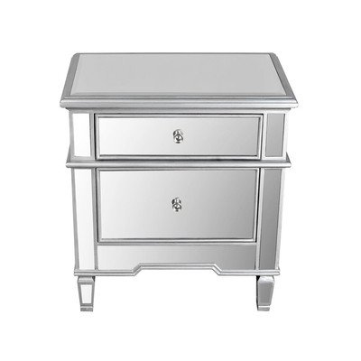 2 Drawer Wood and Mirror Nightstand-Silver,Gray (Wood And Nightstand Mirror)