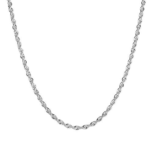 925 Sterling Silver Rope Plated Chain 2mm Jewelry Necklace ()
