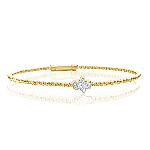 Yellow Gold Hamsa Hand Protection Bangle Bracelet