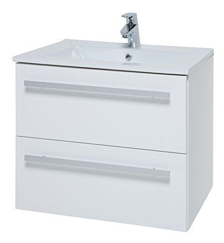 Waschtischunterschrank Bidar 37, Farbe: Weiß glänzend - 50 x 62 x 47 cm (H x B x T)