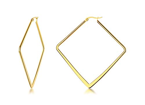 Stainless Steel Oversize Square-shaped Polished Simple Plain Geometric Flattened Hoop Earrings for Women Girl, Gold Plated