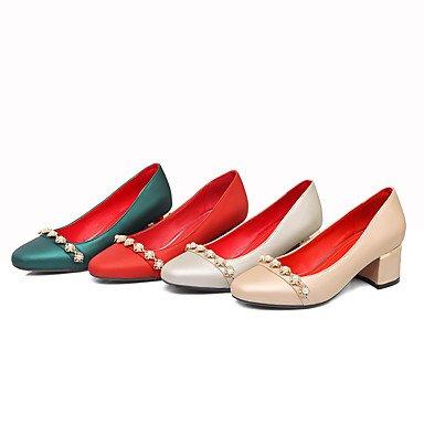 Le donne sexy elegante sandali donna tacchi Primavera Estate Autunno Inverno scarpe Club similpelle Party & abito da sera Casual Chunky Heel imitazione Pearl Glitter spumante , beige , noi6.5-7 / EU37