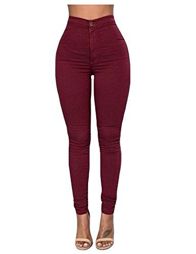 Legou Rouge Large Slim Collant vineux haute Taille Basique Legging Femme rOqarS