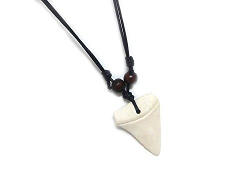 Diy Pharaoh Costume (Shark Tooth Necklace - Adjustable Surfer Necklace - Resin Tooth White)