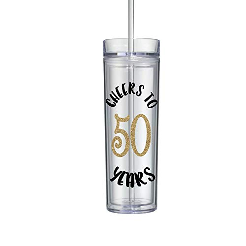 - 50th Birthday Gifts for Women Tumbler with Lid and Straw Water Bottle 0116