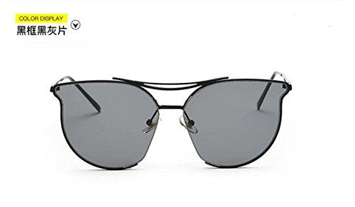 de gafas Estados gray GLSYJ moda marea reflexivo los retro sheet LSHGYJ metal box personalidad Black gafas gafas de brillante color sol sol black Europa y señoras Unidos de ARqFdxvI