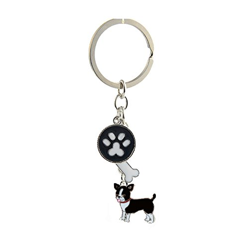 Key-ring Keychain,Cute Metal Small Dog Puppy Keychain Keyring Keyfob Car Bag Charm Dog Tag Chains Birthday Christmas Gift (Black Chihuahua) ()