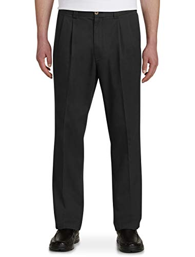 Harbor Bay by DXL Big and Tall Waist-Relaxer Pleated Twill ()