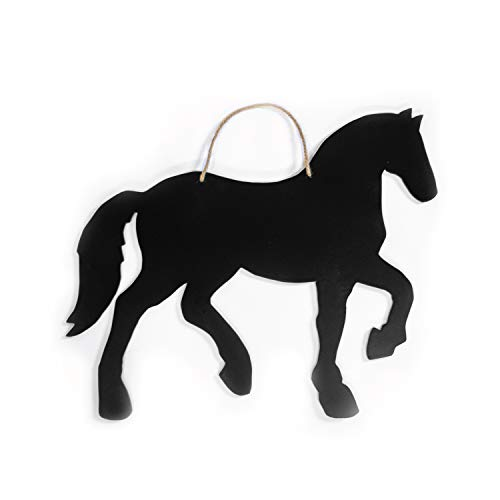 (HORSE CHALKBOARD BLACKBOARD WALL SIGN - rustic farmyard animal kitchen chalkboard shopping grocery list decor in mdf wood with country fixer upper style rope for hanging. Cute kitchen pantry note sign)