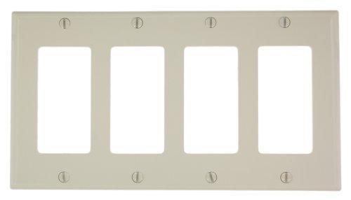 Almond Plastic Plugs (Leviton 80412-NT 4-Gang Decora/GFCI Device Wallplate, Standard Size, Thermoplastic Nylon, Device Mount, Light Almond)